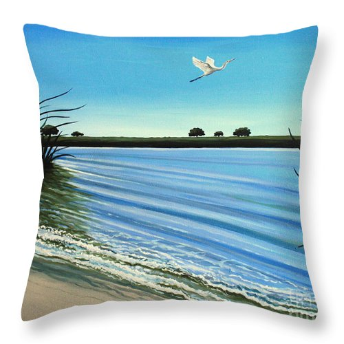 Beach Throw Pillow featuring the painting Sandy Beach by Elizabeth Robinette Tyndall