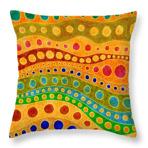 Abstract Lines Circles Red Green Blue Yellow Orange Throw Pillow featuring the painting Sandy Days by Susan Epps Oliver