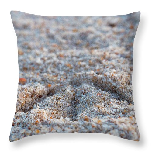 Sand Throw Pillow featuring the photograph Sandy Footprints by Carolyn Truchon