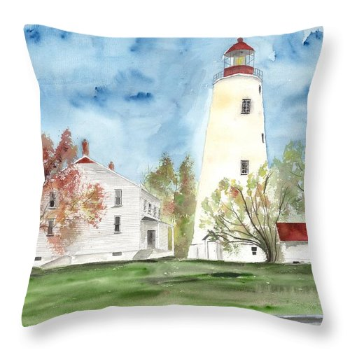 Watercolor Throw Pillow featuring the painting Sandy Hook Lighthouse by Derek Mccrea