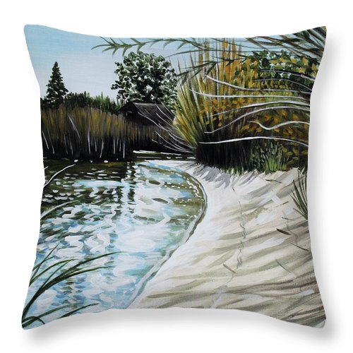 Landscape Throw Pillow featuring the painting Sandy Reeds by Elizabeth Robinette Tyndall