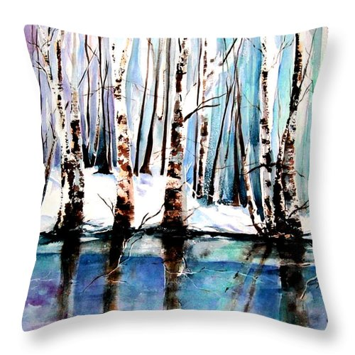 Sandy River Throw Pillow featuring the painting Sandy River by Marti Green