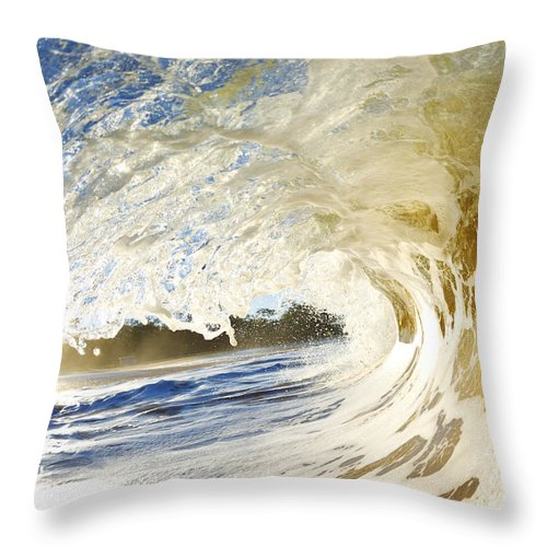 Amazing Throw Pillow featuring the photograph Sandy Wave Barrel by MakenaStockMedia - Printscapes