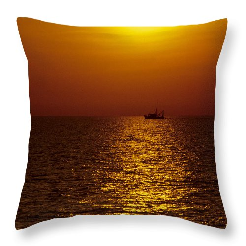 Sanibel Island Throw Pillow featuring the photograph Sanibel Shrimp Boat At Sunset by Steve Somerville