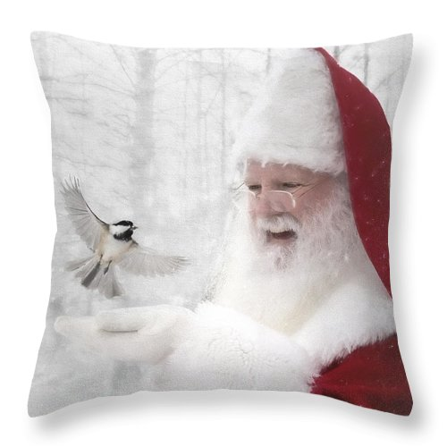santa Claus Throw Pillow featuring the photograph Santa And The Chickadee by Pat Eisenberger