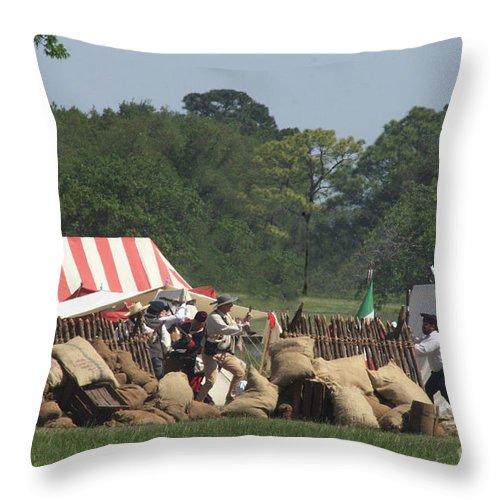 Battle At San Jacinto Throw Pillow featuring the photograph Santa Anna's Camp by Kim Henderson