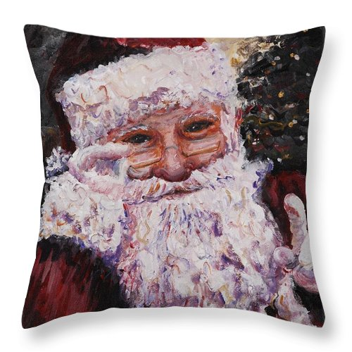 Santa Throw Pillow featuring the painting Santa Chat by Nadine Rippelmeyer
