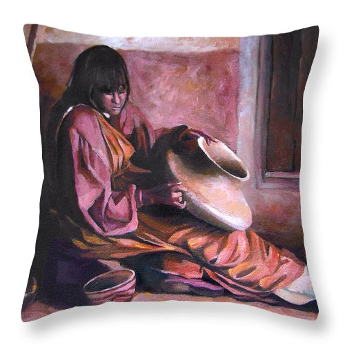 Native American Throw Pillow featuring the painting Santa Clara Potter by Nancy Griswold