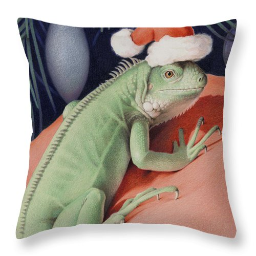 Lizard Throw Pillow featuring the drawing Santa Claws - Bob The Lizard by Amy S Turner
