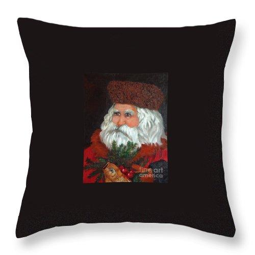 Santa Throw Pillow featuring the painting Santa by Enzie Shahmiri