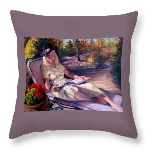 Realism Throw Pillow featuring the painting Santa Fe Garden 1 by Donelli DiMaria