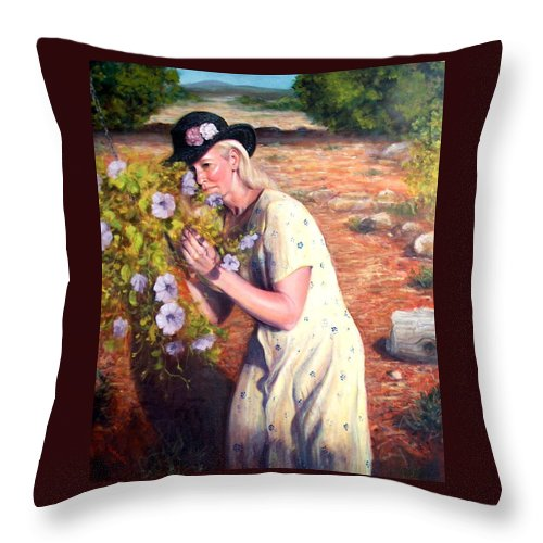 Realism Throw Pillow featuring the painting Santa Fe Garden 2  by Donelli DiMaria