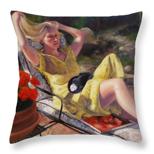 Realism Throw Pillow featuring the painting Santa Fe Garden 4 by Donelli DiMaria