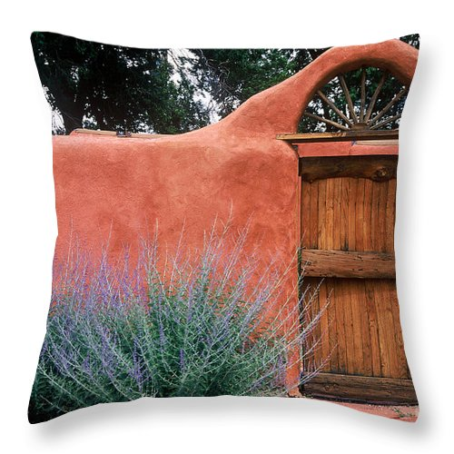 Adobe Throw Pillow featuring the photograph Santa Fe Gate No. 2 - Rustic Adobe Antique Door Home Country by Jon Holiday