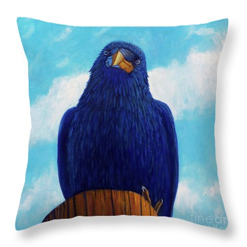 Raven Throw Pillow featuring the painting Santa Fe Smile by Brian Commerford