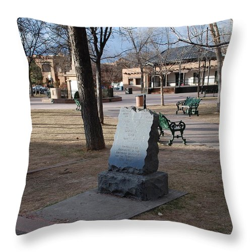 Parks Throw Pillow featuring the photograph Santa Fe Trail Marker by Rob Hans