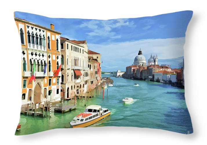 Venice Throw Pillow featuring the painting Santa Maria by Delphimages Photo Creations