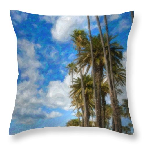 Looking North Throw Pillow featuring the photograph Santa Monica Ca Palisades Park Bluffs Palm Trees by David Zanzinger