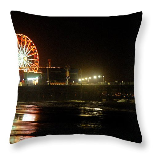 Clay Throw Pillow featuring the photograph Santa Monica Pier by Clayton Bruster