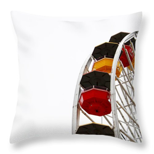 Ferris Wheel Throw Pillow featuring the photograph Santa Monica Pier Ferris Wheel- By Linda Woods by Linda Woods