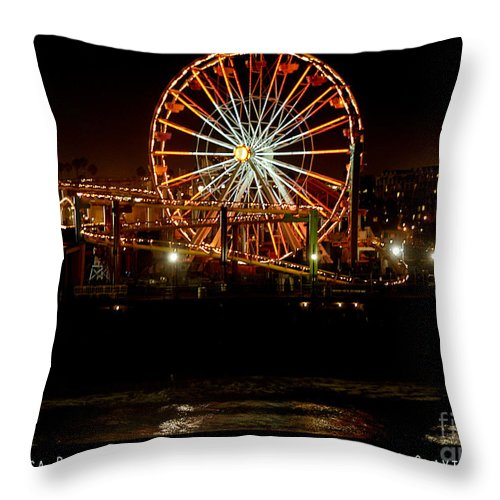 Clay Throw Pillow featuring the photograph Santa Monica Pier October 18 2007 by Clayton Bruster