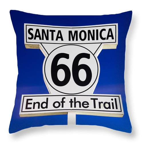 California Throw Pillow featuring the photograph Santa Monica Route 66 Sign by Paul Velgos
