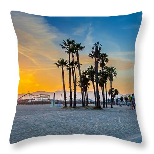 Los Angeles Throw Pillow featuring the photograph Santa Monica Sunset by Az Jackson