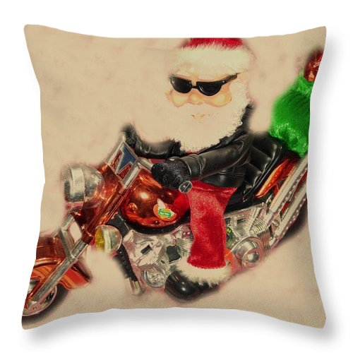 Throw Pillow featuring the photograph Santa On Motorcycle by Miriam Marrero