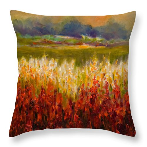 Landscape Throw Pillow featuring the painting Santa Rosa Valley by Shannon Grissom
