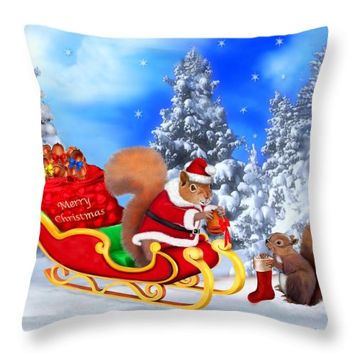 Christmas Throw Pillow featuring the digital art Santa's Little Helper by Glenn Holbrook