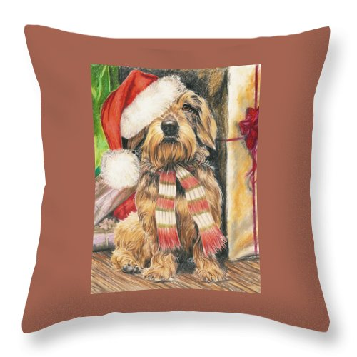 Hound Group Throw Pillow featuring the drawing Santas Little Yelper by Barbara Keith