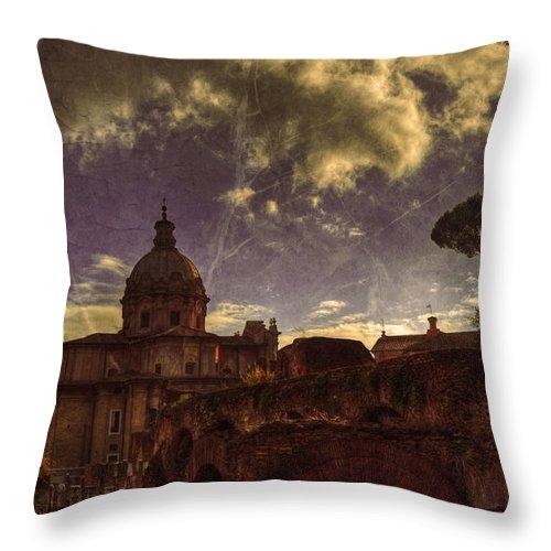 Church Throw Pillow featuring the digital art Santi Luca E Martina Old School by Darin Williams