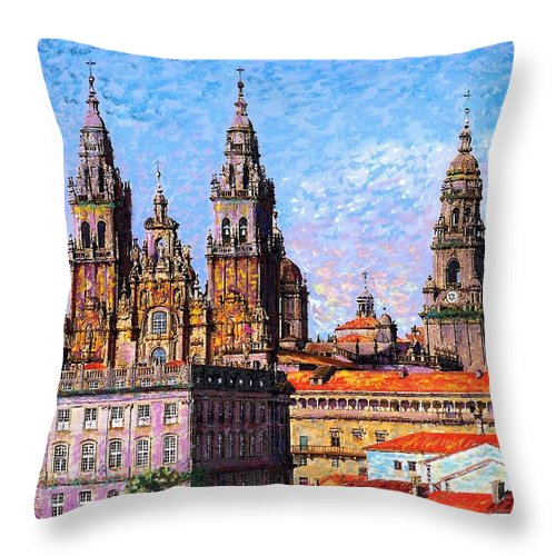 Spain Throw Pillow featuring the painting Santiago De Compostela, Cathedral, Spain by Jane Small