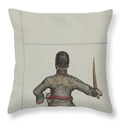 Throw Pillow featuring the drawing Santo Bulto (santiago Or San Diego) by Eldora P. Lorenzini