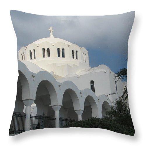 Santorini Throw Pillow featuring the photograph Santorini Church 2 by Lin Grosvenor