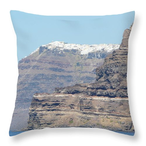 Santorin Throw Pillow featuring the photograph Santorini Fira by Valerie Ornstein