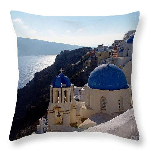 Blue Domed Roofs Throw Pillow featuring the photograph Santorini Greece by Nancy Bradley