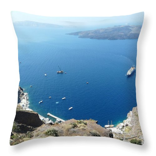 Santorin Throw Pillow featuring the photograph Santorini Old Port At Fira by Valerie Ornstein