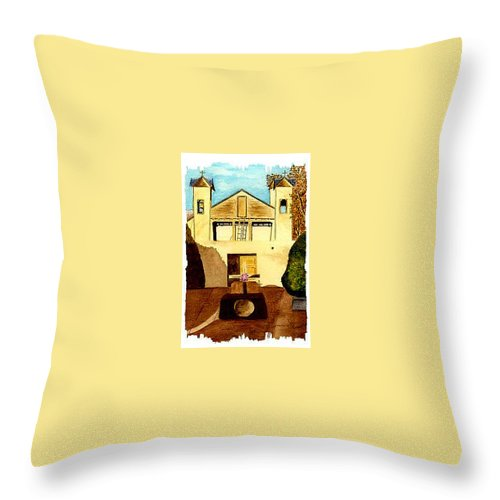 spanish Mission Throw Pillow featuring the painting Santuario De Chimayo by Michael Vigliotti