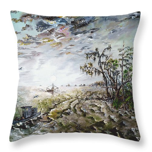 Lighthouse Throw Pillow featuring the painting Sapelo Island by Richard Barham