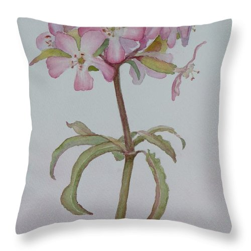 Flower Throw Pillow featuring the painting Saponaria by Ruth Kamenev