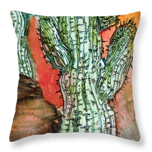 Cactus Throw Pillow featuring the painting Saquaros by Mindy Newman