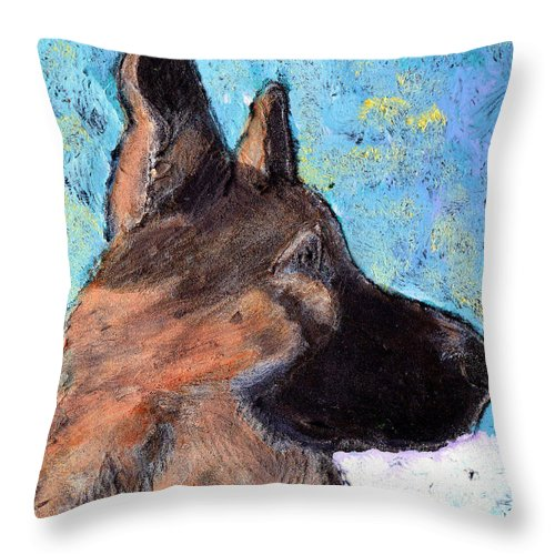 Dog Throw Pillow featuring the painting Sarge II by Wayne Potrafka