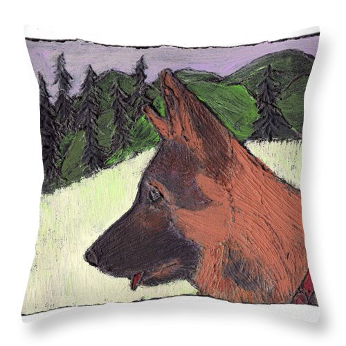 Dog Throw Pillow featuring the painting Sarge by Wayne Potrafka
