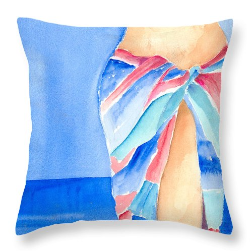 Sarong Throw Pillow featuring the painting Sarong by Arline Wagner