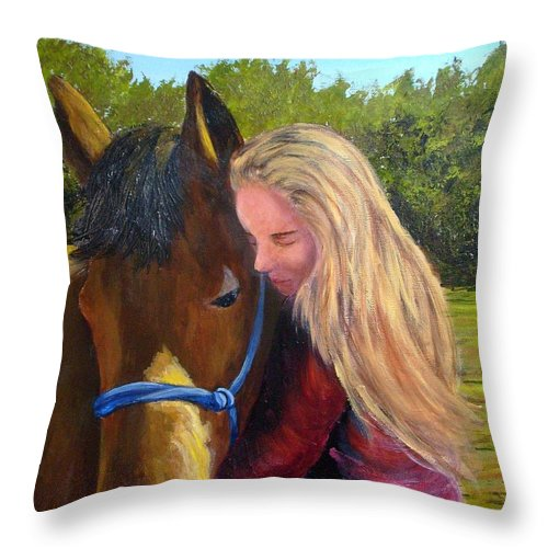 Throw Pillow featuring the painting Sasha And Chelsea by Tami Booher