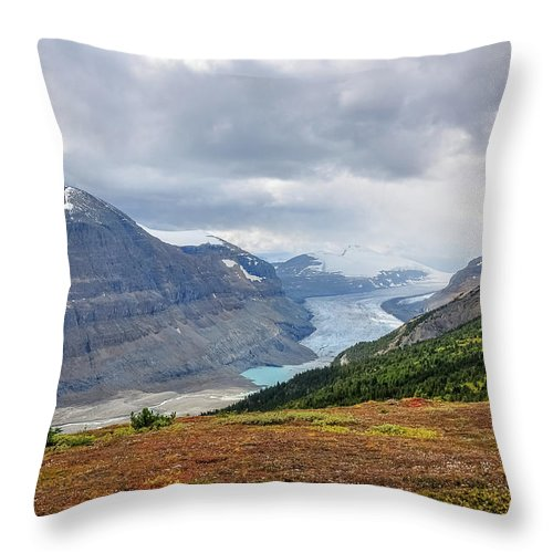 Alberta Throw Pillow featuring the photograph Saskatchewan Glacier In Canada by Daniela Constantinescu