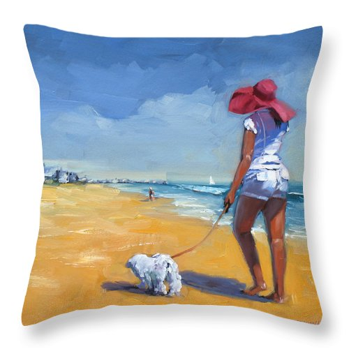 Seascape Throw Pillow featuring the painting Sassy Three by Laura Lee Zanghetti