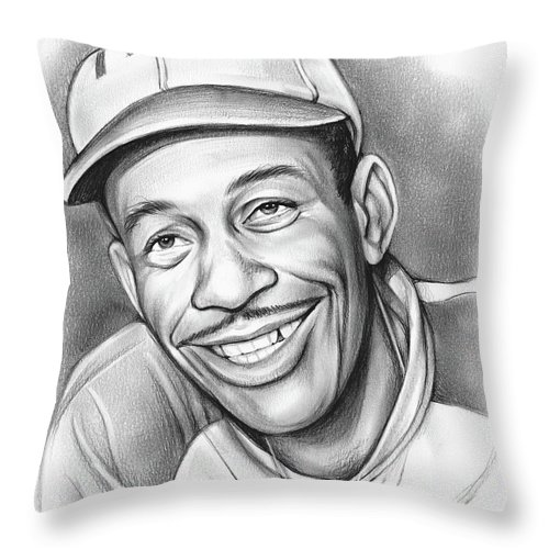 Satchel Paige Throw Pillow featuring the drawing Satchel Paige II by Greg Joens