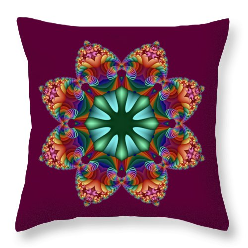 Satin Throw Pillow featuring the digital art Satin Rainbow Fractal Flower II by Ruth Moratz